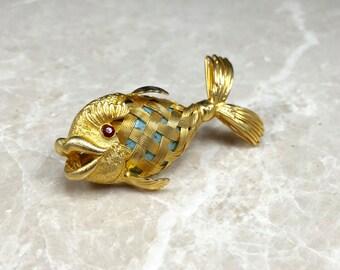 Fish Brooch, Turquoise Fish, Vintage Fish Pin, Gold Fish Brooch, Gold Fish Pin, Turquoise Stone, Rhinestone Fish, Woven Fish Pin, Woven Gold