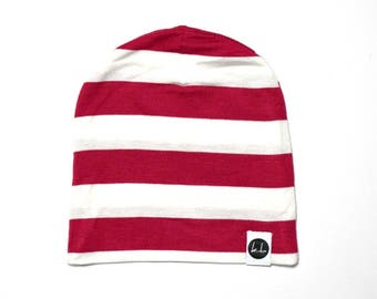 Red and White Stripe Slouch Beanie