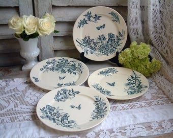 Set of 4 Antique french teal transferware plates. Teal transferware. Jasmine. Butterflies. Blue green transferware. Tea plates