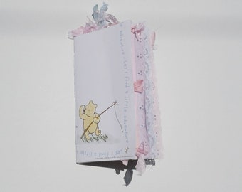 Classic Pooh B/Traveler's Notebook/Junk Journal/Handmade/TN inserts/Shabby Chic/Lace/Vintage/Pastel Colors/Memory Keeping/Scrapbooking