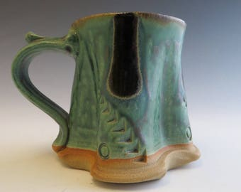 Tree Trunk Mug  Green & Black Handmade