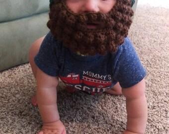 Crochet Beard Hat, Beard Beanie, Baby Bearded sock hat, Detachable beard hat