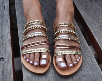 "Leather sandals ""Cleopatra"" Handcrafted Greek sandals, Ancient sandals, Gold sandals, Gladiator sandals, Gypsy sandals"