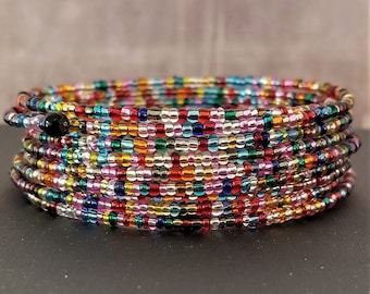 Multi-Color Glass Seed Bead Memory Wire Bracelet