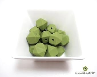 Hexagon - Olive Green Loose Silicone Beads for Teething Necklace