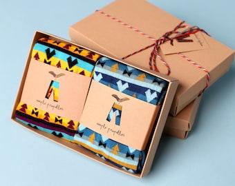 Men's gift matching dress socks Aztec design | 2 pack in a gift box