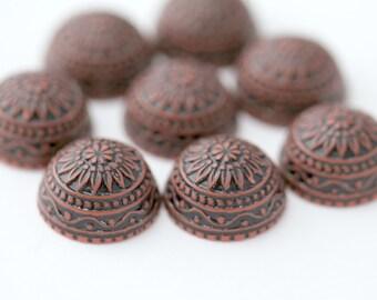 Vintage German Cabs Lucite Etched Rust Red Black Cabochons Carved Round Flatbacks 18mm (8)
