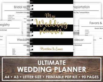 Printable wedding planner, Boho color wedding planner color wedding binder  chalkboard checklist Digital chalkboard wedding to do list
