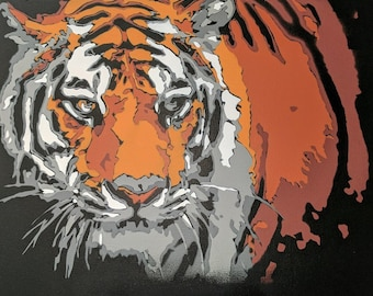 Tiger Spraypaint Stencil by Doudkine