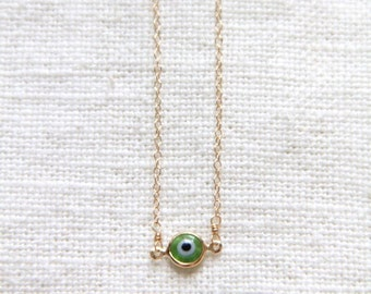Gold Evil Eye Necklace - Murano Glass -- Green