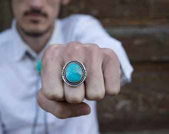 Turquoise Ring Mens | Real Turquoise Ring | Silver Bohemian Ring | Turquoise Jewelry Mens | Bohemian Jewelry Mens | Tribal Jewelry Mens