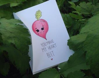 You make my heart Beet, handmade valentine/birthday card