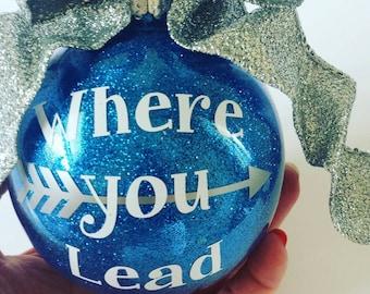 Gilmore Girls Ornament, Where You Lead I Will Follow,  Gilmore Girls Christmas Ornament, Gilmore Girls Gift, Glitter Ornament