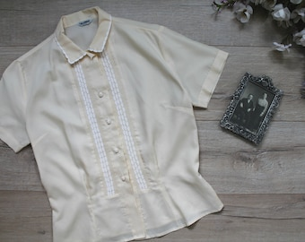 Cream and Sugar Blouse - 50s cream blouse with white trim, large