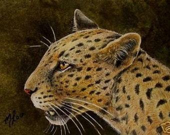 ACEO OE Print Wildlife Art Melody Lea Lamb Jaguar