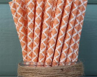 Orange Damask Paper Straw (pack of 25)