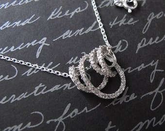 vine - sterling silver cz necklace