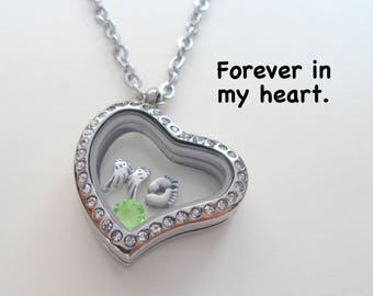 Forever in My Heart Locket Necklace, Infant Loss Gift Necklace, Miscarriage Stillborn Floating Locket Memorial Necklace, Baby Feet Wings