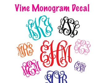 Vinyl Monogram Etsy - Monogrammed custom vinyl decals for car