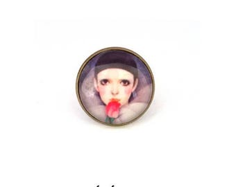 """My friend Pierrot"" cabochon Adjustable ring • • ring romantic cabochon, love, moon, fancy ring"