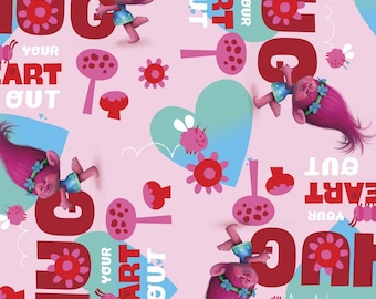 DREAMWORK TROLLS FABRIC / 1/2 Yard For Quilting / Poppy - Hug Your Heart Out - Pink