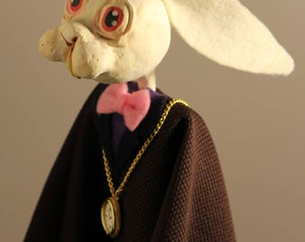 White Rabbit Puppet Art Doll