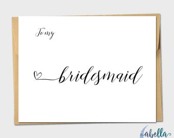 To My Bridesmaid Heart Vintage Wedding Day Card Handmade Wedding Card