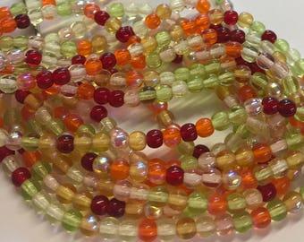 4mm Druk Bead Mix, 4mm Round Glass Bead Mix, Mixed Glass Strand, Czech Druk Bead Mix, Red/Orange/Greens