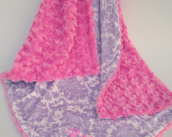 Lavender Damask and Fuchsia Pink Swirl Minky Baby Blanket