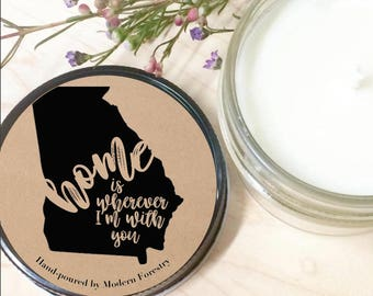 Home Soy Candle, Edward Sharpe, Long Distance Candle, Home is Wherever, Rehearsal Dinner, Engagement Gift, Wedding Gift, Wedding Favors