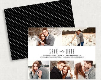 Photo Save the Dates, Save the Date Magnets, Save the Dates with 5 Photos, Printable Save the Dates, Custom Save the Dates, Any Color, PDF