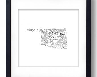 Oklahoma - Hand drawn illustrations and type