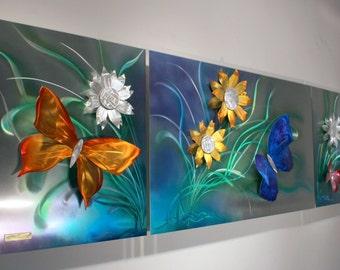 Alex Kovacs - Original Art Metal Wall Sculpture Abstract Home Decor Butterfly Painting - AK476