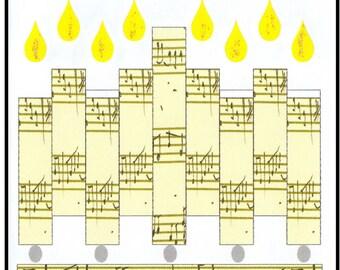 Hannukah Jewish Greeting Card - Music Note Menorah