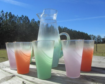 Mid Century Rainbow Pitcher and Glasses, glass pitcher, retro glassware, highball set, Orange, Green, Lavender,  Blendo