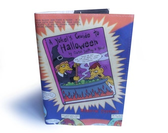 SALE ⎟ Book Cover - The Simpsons Upcycled Comic in PVC - Halloween Dust Jacket with Notebook A6