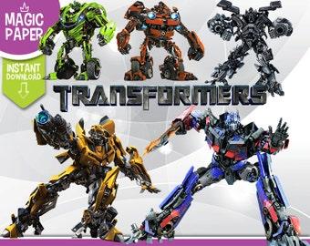 Transformers Clipart - Digital 300 DPI PNG Images, Photos, Scrapbook, Digital, Cliparts - Instant Download