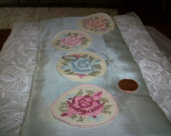 Antique hand done Pettipoint circle swiss