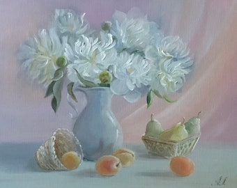 Oil painting Peonies. Painting on Canvas.