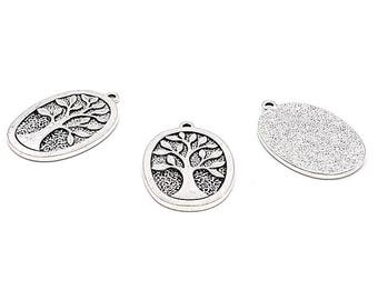 10 charms tree of life Silver Oval matte 38mm