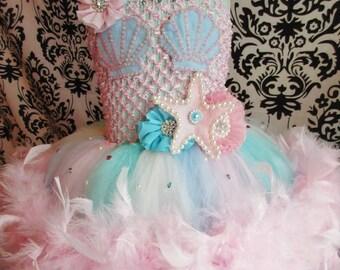 Feather Mermaid Dress/Feather Mermaid Costume/Pastel Mermaid Birthday/Baby Girl Dress/under the sea party/Baby Mermaid Dress/Feather tutus