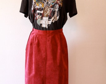 Ultrasuede Maroon calf length skirt