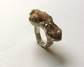CristalquartzRing#Handmade#Ring#Statementring#Silver