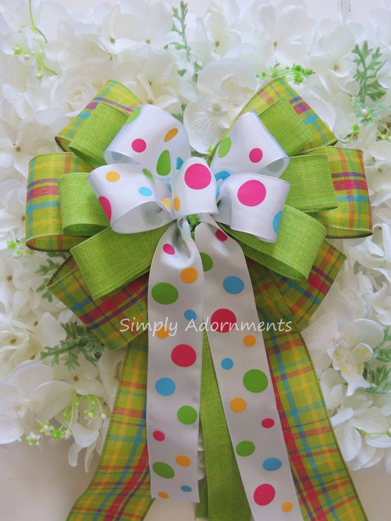 Green pink Spring Plaid Wreath Bow Green Spring Plaid Bow Summer Dots Plaid Wedding Bow Pink Green Birthday Decor Bridal shower party Decor