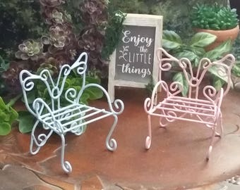 Fairy Garden Miniature Butterfly Chair for Fairy Garden, Fairy Furniture, Mini Chair, Miniature Garden Chair, Painted Metal Chair
