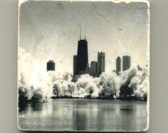 Chicago Skyline North Pond in Infrared - Original Coaster