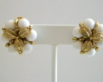 White Beaded Floral Cluster Clip Earrings