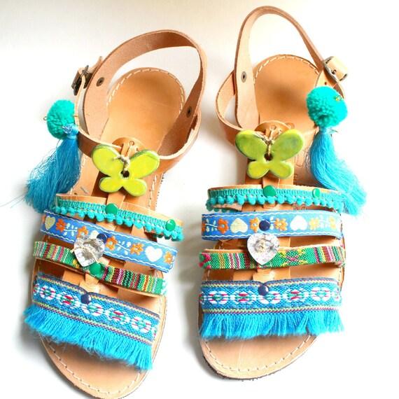 grecques US sandals sandals handmade 5 pieds 8 sandales Sandals 39 Boho Pompom cuir pons gladiators sandals women's pom 8 nu Size ZqOfW5