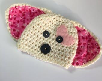 Puppy Love Hat, Ready to Ship, Crochet Valentine Puppy Hat, Valentine's Day Puppy Hat, Baby Girl Hat, Baby Newborn Hat, Newborn Prop