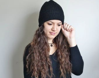 Double Brim Beanie • Double Brim Hat • Knit Slouchy Hat • The Stuyvesant • In Color Black